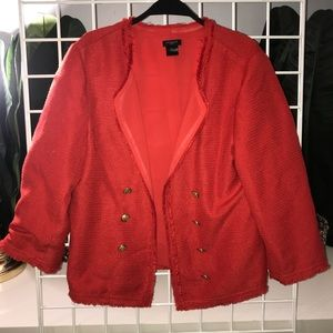 Ann Taylor red blazer jacket with gold buttons